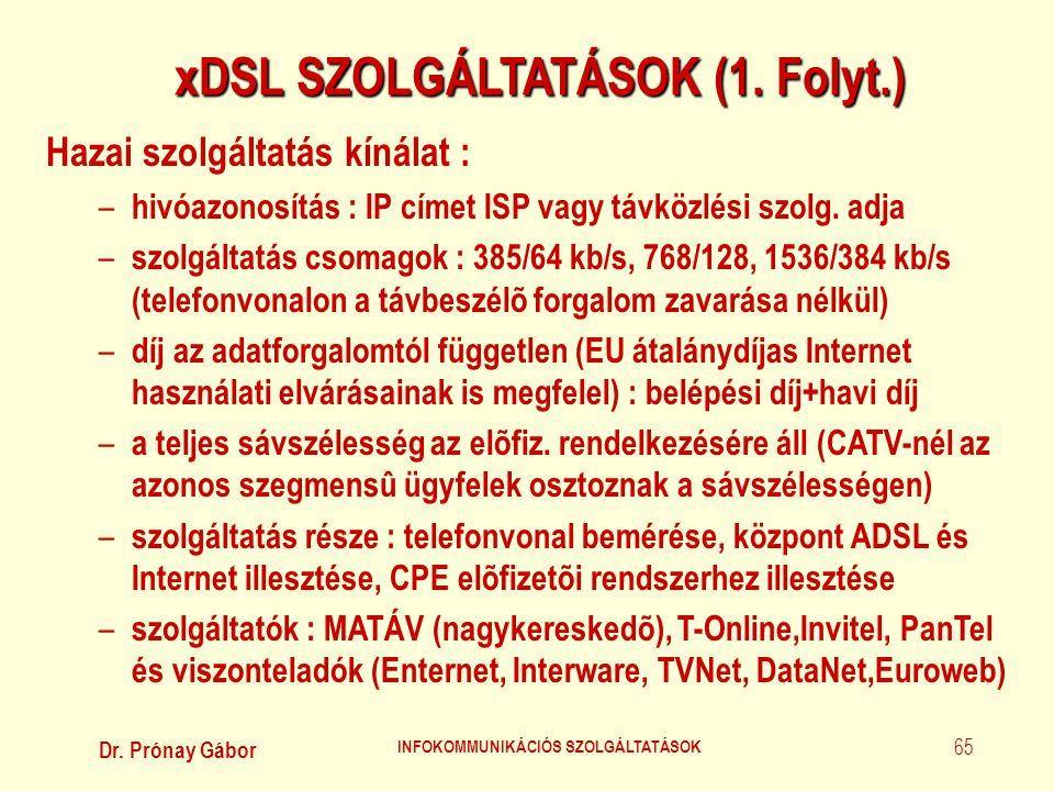 xDSL SZOLGÁLTATÁSOK (1. Folyt.) INFOKOMMUNIKÁCIÓS SZOLGÁLTATÁSOK