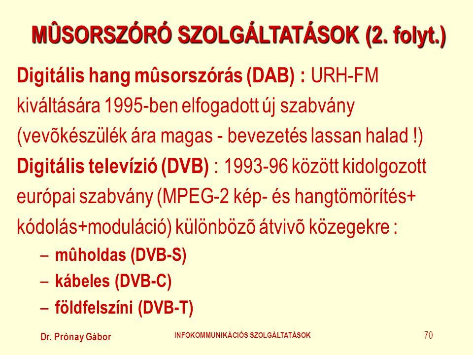 MÛSORSZÓRÓ SZOLGÁLTATÁSOK (2. folyt.) INFOKOMMUNIKÁCIÓS SZOLGÁLTATÁSOK