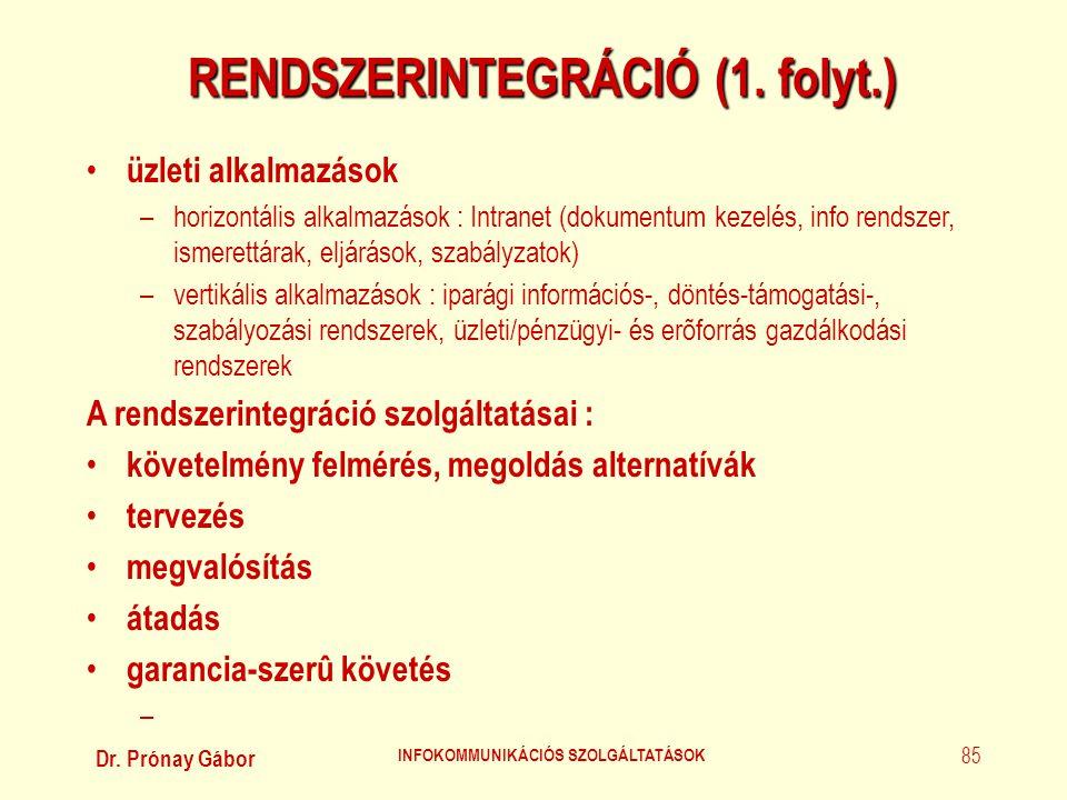 RENDSZERINTEGRÁCIÓ (1. folyt.) INFOKOMMUNIKÁCIÓS SZOLGÁLTATÁSOK