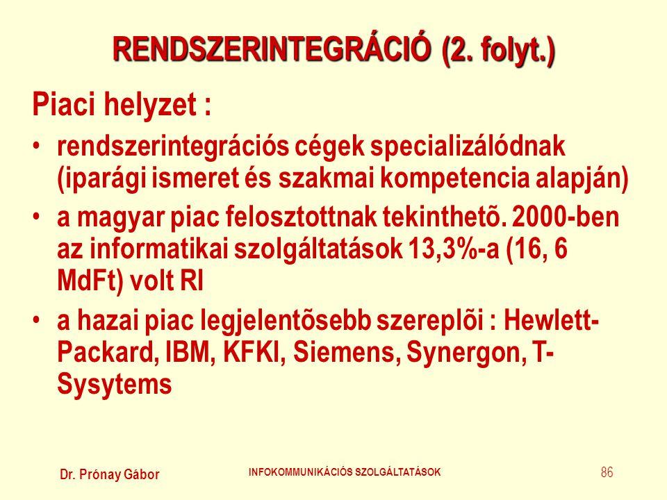 RENDSZERINTEGRÁCIÓ (2. folyt.) INFOKOMMUNIKÁCIÓS SZOLGÁLTATÁSOK