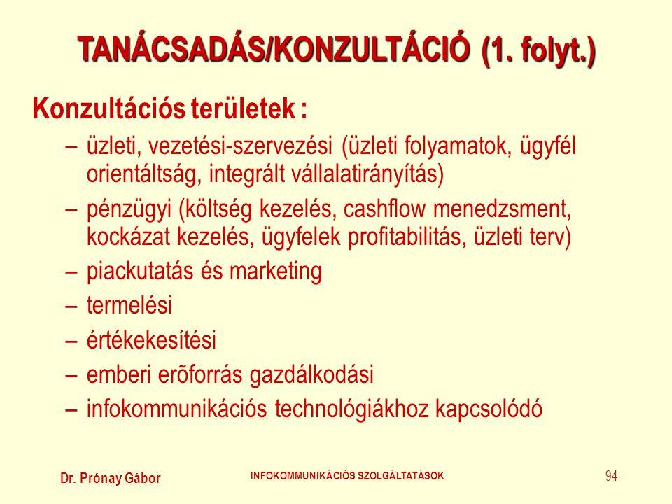 TANÁCSADÁS/KONZULTÁCIÓ (1. folyt.) INFOKOMMUNIKÁCIÓS SZOLGÁLTATÁSOK