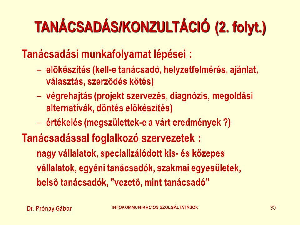 TANÁCSADÁS/KONZULTÁCIÓ (2. folyt.) INFOKOMMUNIKÁCIÓS SZOLGÁLTATÁSOK