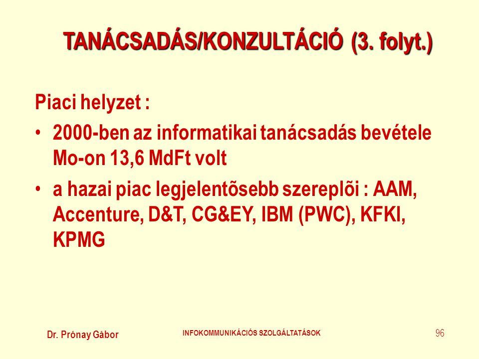 TANÁCSADÁS/KONZULTÁCIÓ (3. folyt.) INFOKOMMUNIKÁCIÓS SZOLGÁLTATÁSOK