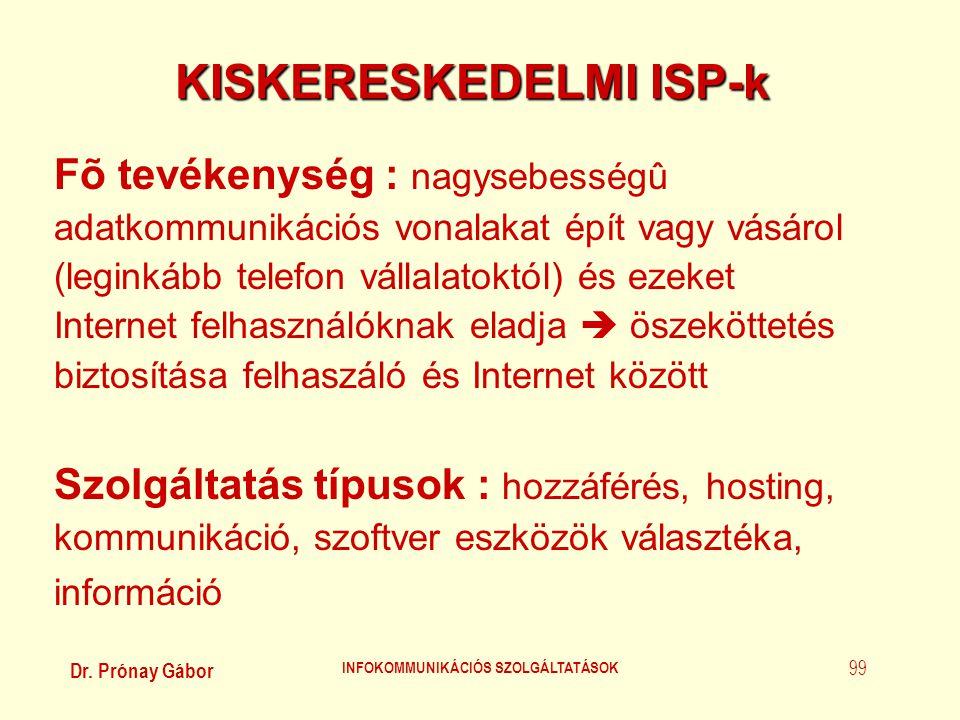 KISKERESKEDELMI ISP-k INFOKOMMUNIKÁCIÓS SZOLGÁLTATÁSOK