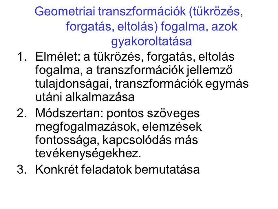 Geometriai transzformációk (tükrözés, forgatás, eltolás) fogalma, azok gyakoroltatása