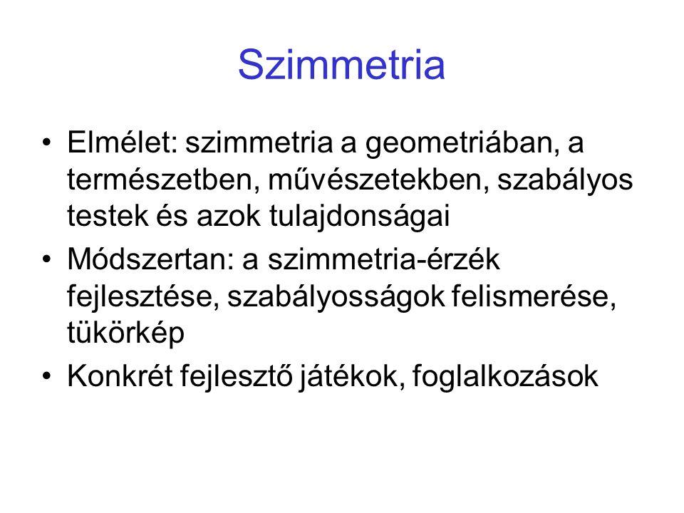 Szimmetria Elmélet: szimmetria a geometriában, a természetben, művészetekben, szabályos testek és azok tulajdonságai.
