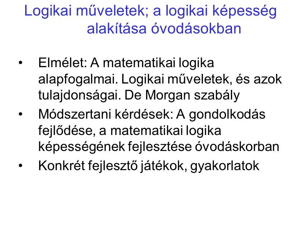 Logikai műveletek; a logikai képesség alakítása óvodásokban