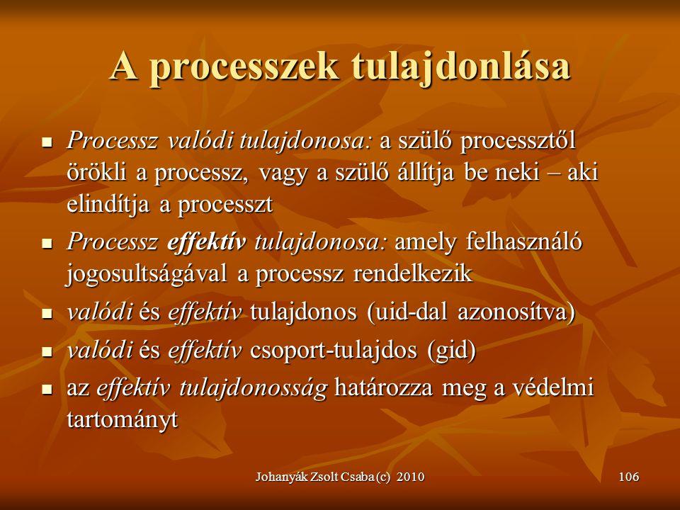 A processzek tulajdonlása