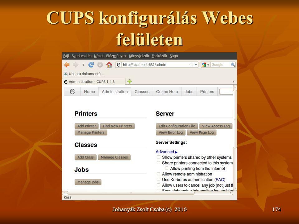 CUPS konfigurálás Webes felületen