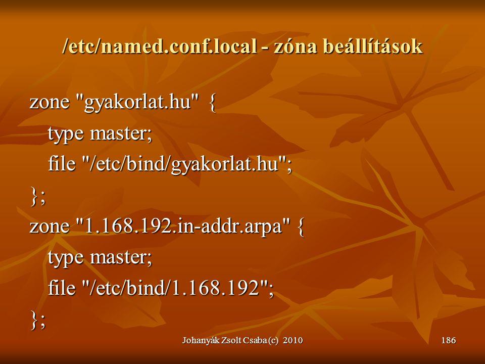 /etc/named.conf.local - zóna beállítások