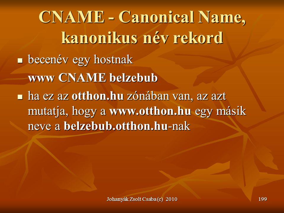 CNAME - Canonical Name, kanonikus név rekord