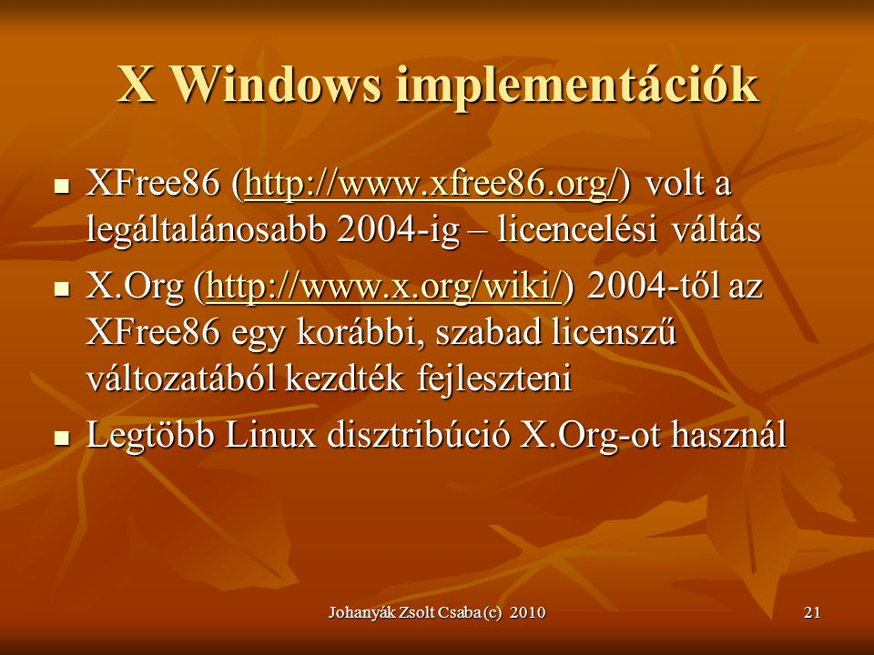 X Windows implementációk