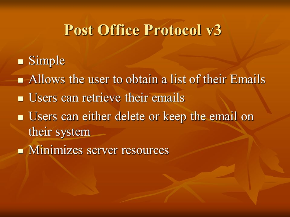 Post Office Protocol v3 Simple
