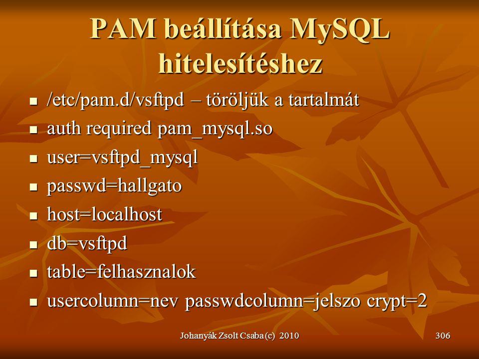 PAM beállítása MySQL hitelesítéshez