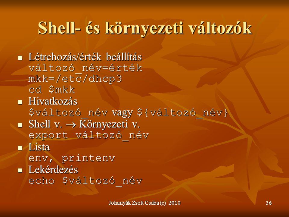 Shell- és környezeti változók