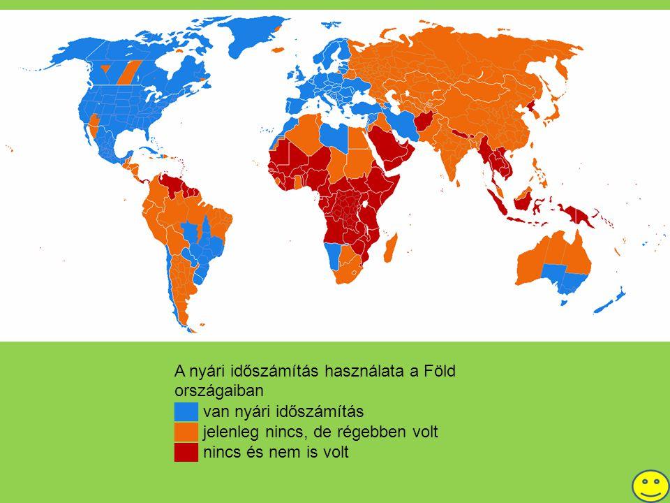 A nyári időszámítás használata a Föld országaiban ██ van nyári időszámítás