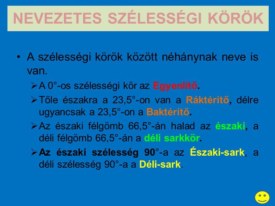 NEVEZETES SZÉLESSÉGI KÖRÖK