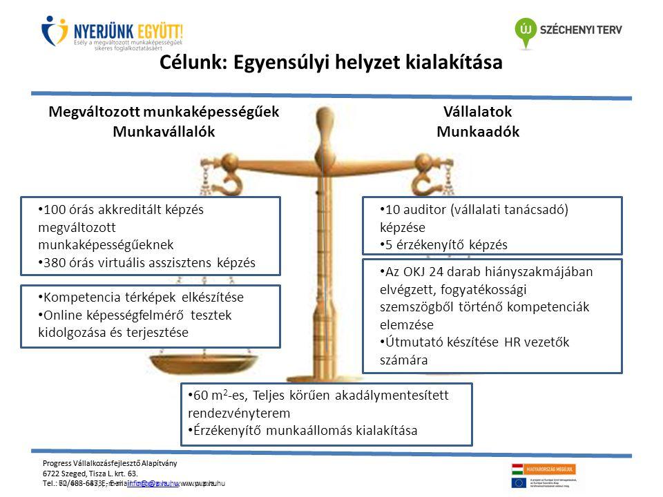 Célunk: Egyensúlyi helyzet kialakítása Megváltozott munkaképességűek