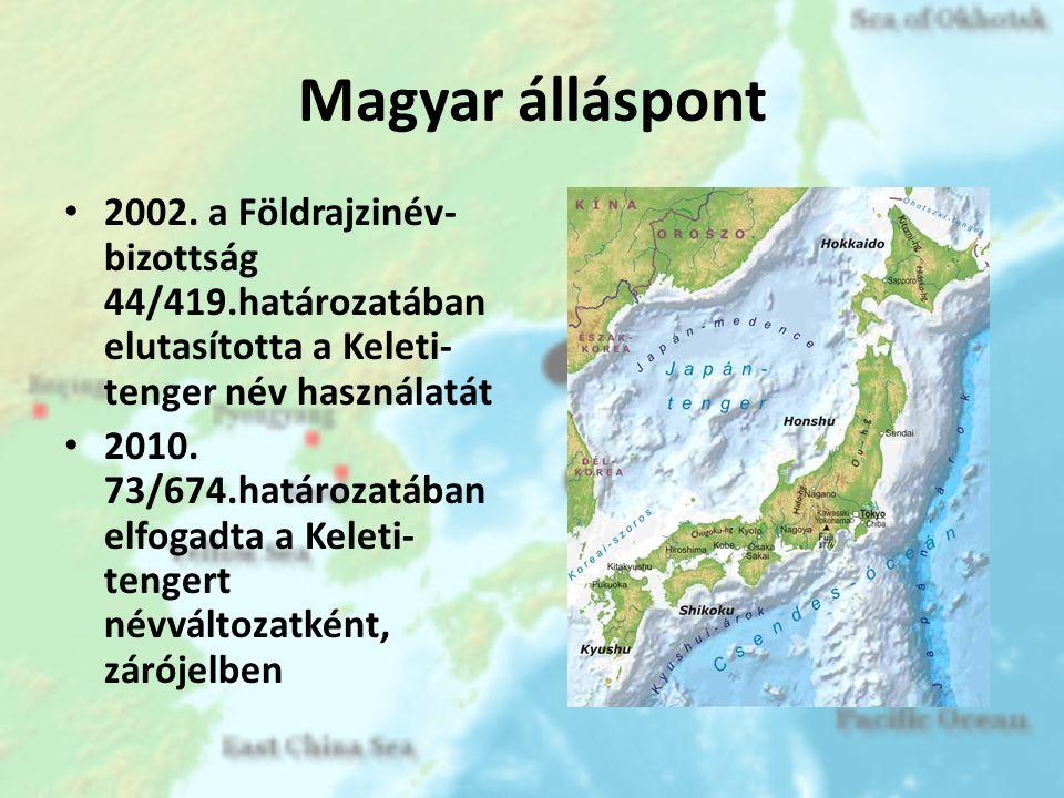 Magyar álláspont 2002. a Földrajzinév-bizottság 44/419.határozatában elutasította a Keleti-tenger név használatát.