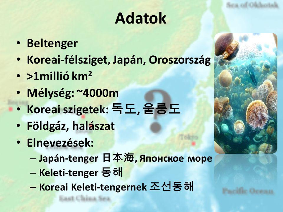 Adatok Beltenger Koreai-félsziget, Japán, Oroszország >1millió km2