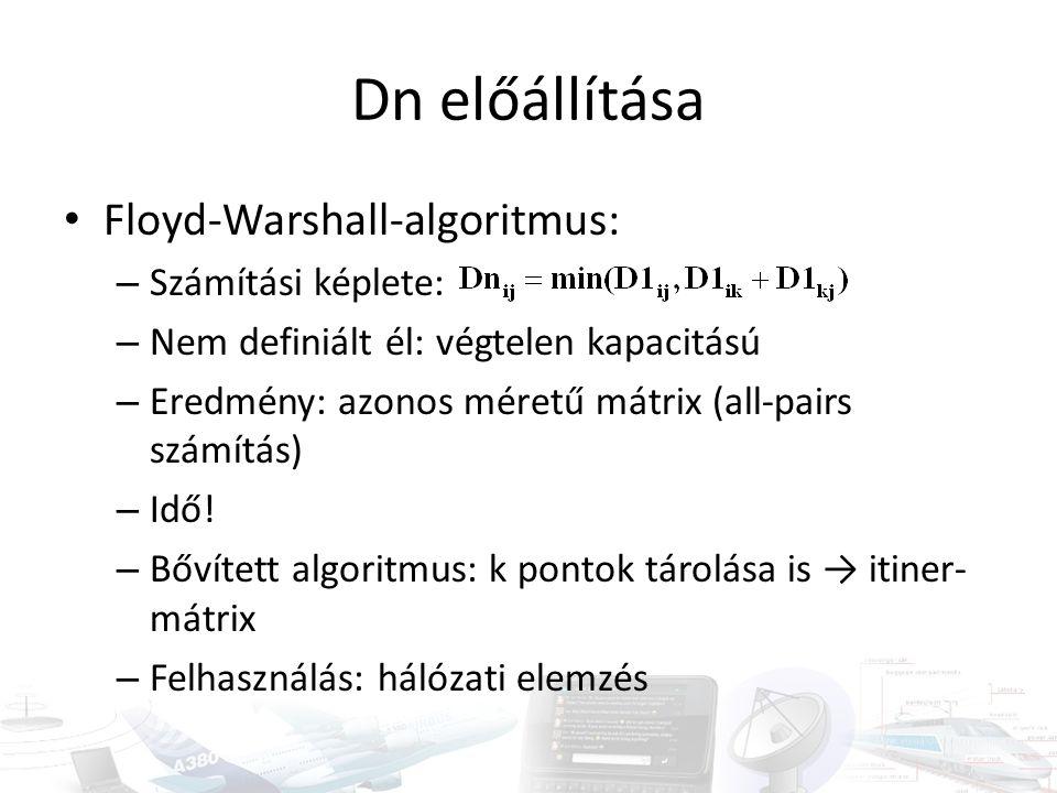 Dn előállítása Floyd-Warshall-algoritmus: Számítási képlete: