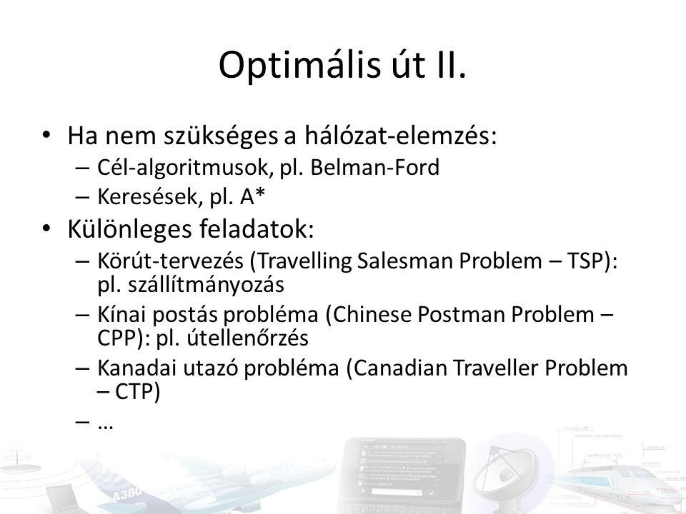 Optimális út II. Ha nem szükséges a hálózat-elemzés: