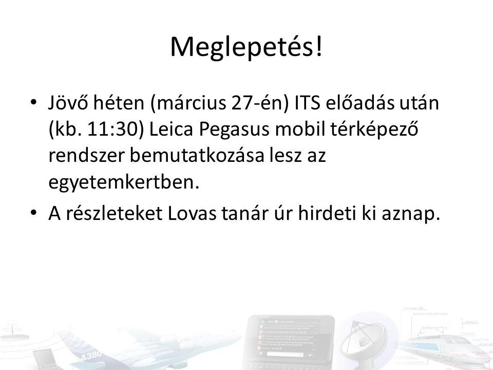 Meglepetés! Jövő héten (március 27-én) ITS előadás után (kb. 11:30) Leica Pegasus mobil térképező rendszer bemutatkozása lesz az egyetemkertben.