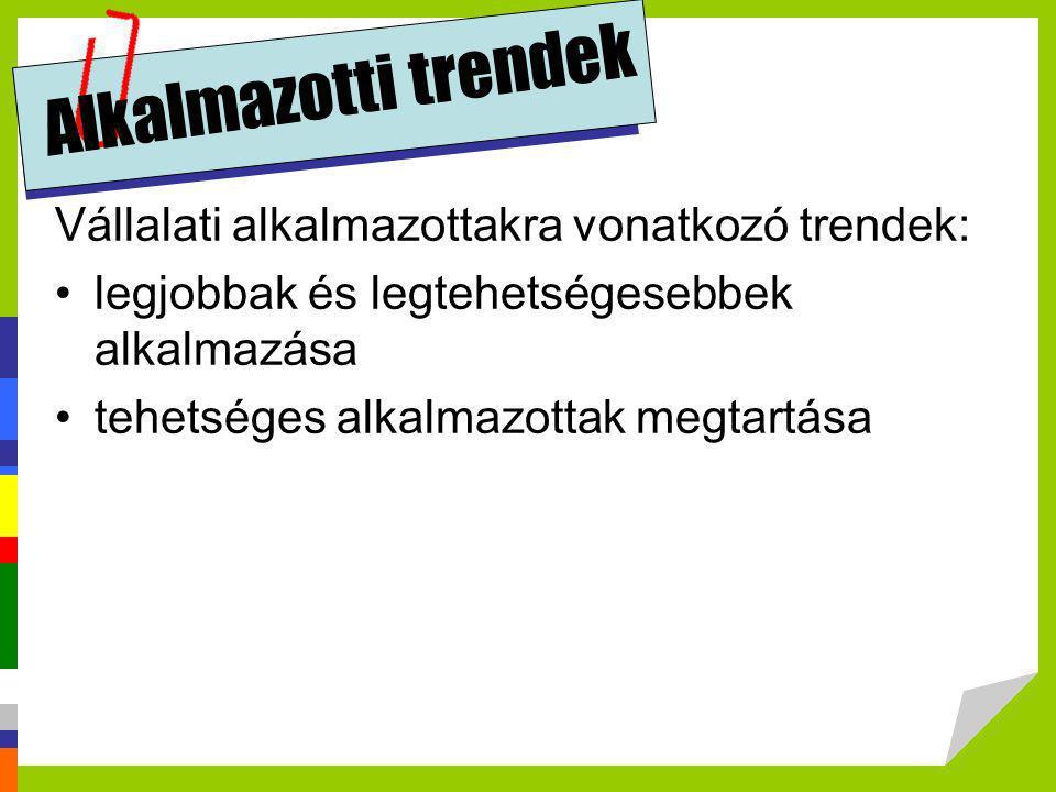 Alkalmazotti trendek Vállalati alkalmazottakra vonatkozó trendek: