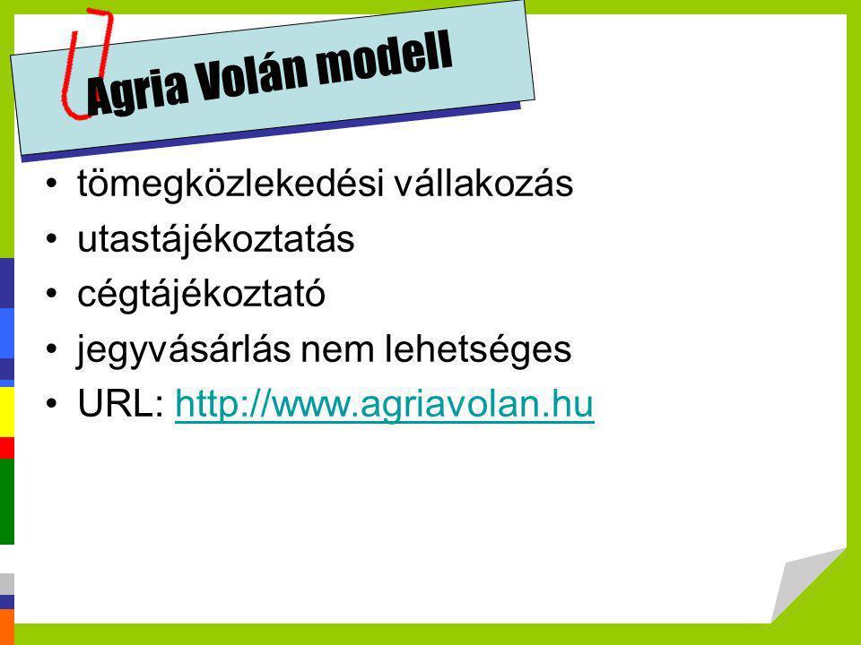 Agria Volán modell tömegközlekedési vállakozás utastájékoztatás