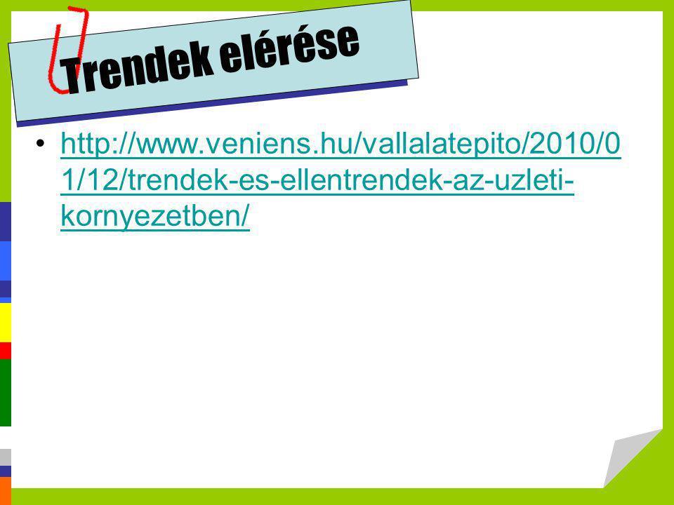 Trendek elérése http://www.veniens.hu/vallalatepito/2010/01/12/trendek-es-ellentrendek-az-uzleti-kornyezetben/