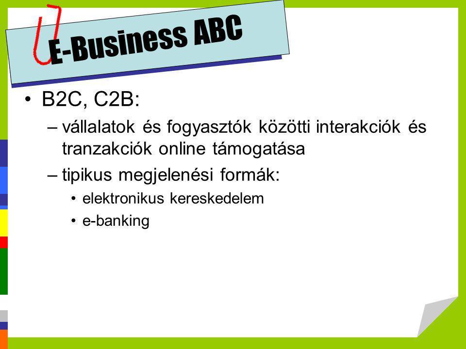 E-Business ABC B2C, C2B: vállalatok és fogyasztók közötti interakciók és tranzakciók online támogatása.