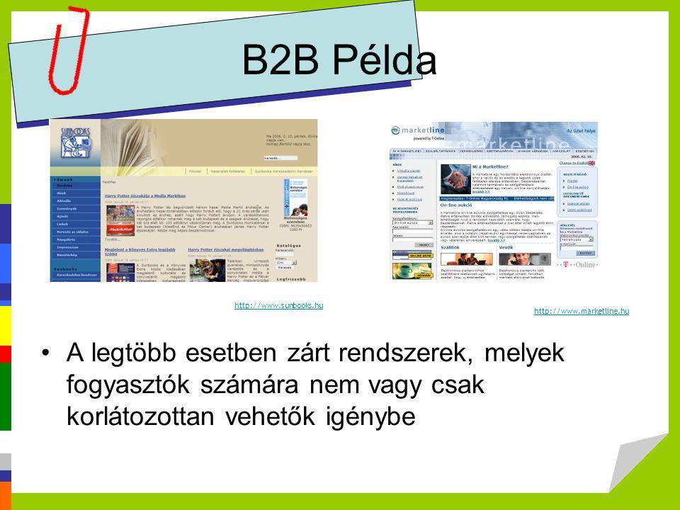 B2B Példa http://www.sunbooks.hu. http://www.marketline.hu. Forrás: Elekes Attila, Budapesti Corvinus Egyetem.