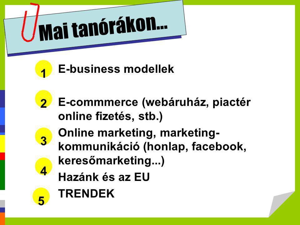 Mai tanórákon... 1 2 3 4 5 E-business modellek