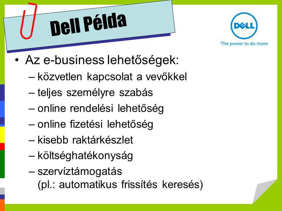 Dell Példa Az e-business lehetőségek: közvetlen kapcsolat a vevőkkel
