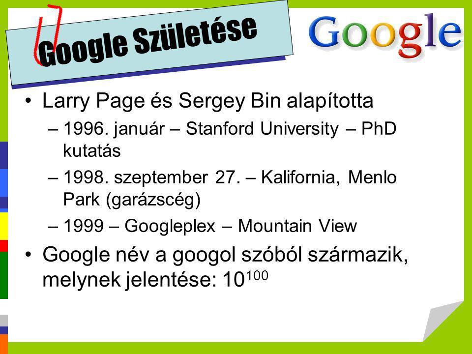 Google Születése Larry Page és Sergey Bin alapította