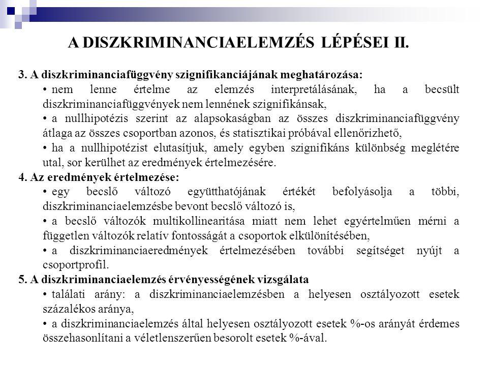 A DISZKRIMINANCIAELEMZÉS LÉPÉSEI II.