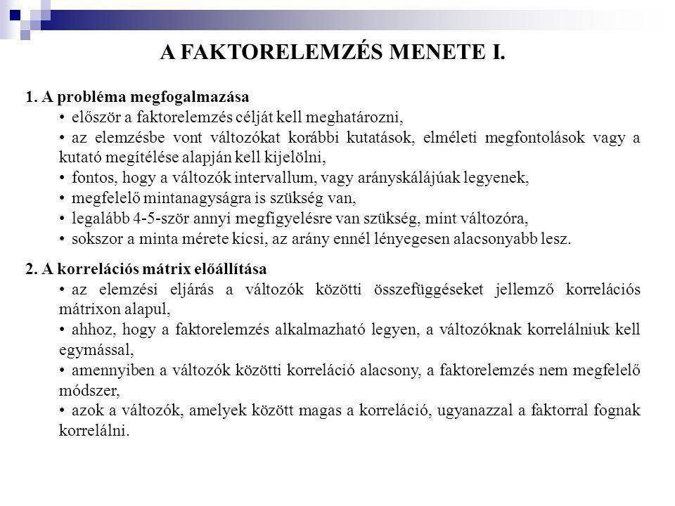 A FAKTORELEMZÉS MENETE I.