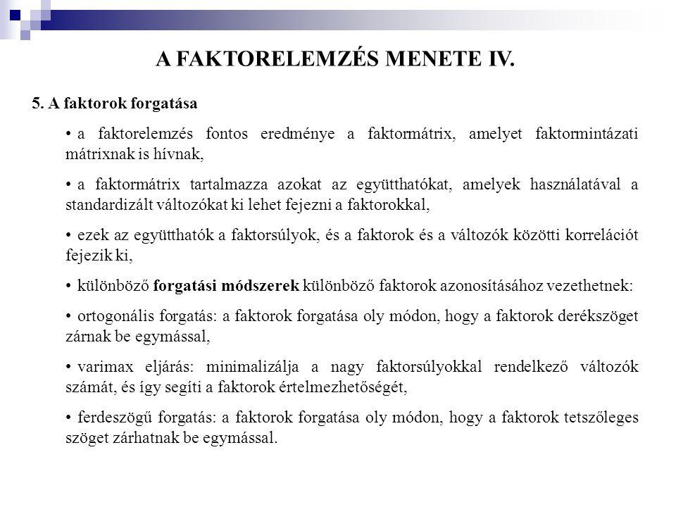 A FAKTORELEMZÉS MENETE IV.