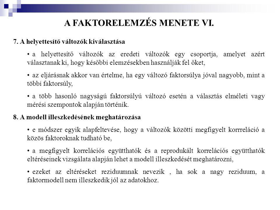 A FAKTORELEMZÉS MENETE VI.