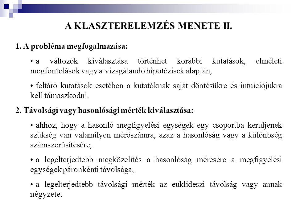 A KLASZTERELEMZÉS MENETE II.