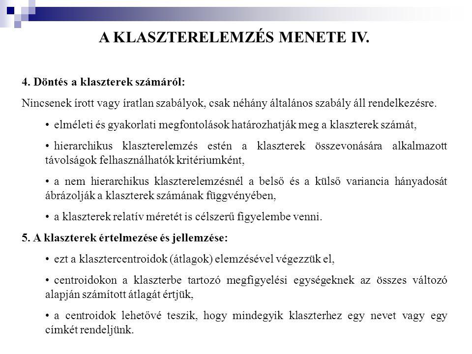 A KLASZTERELEMZÉS MENETE IV.