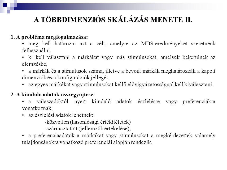 A TÖBBDIMENZIÓS SKÁLÁZÁS MENETE II.