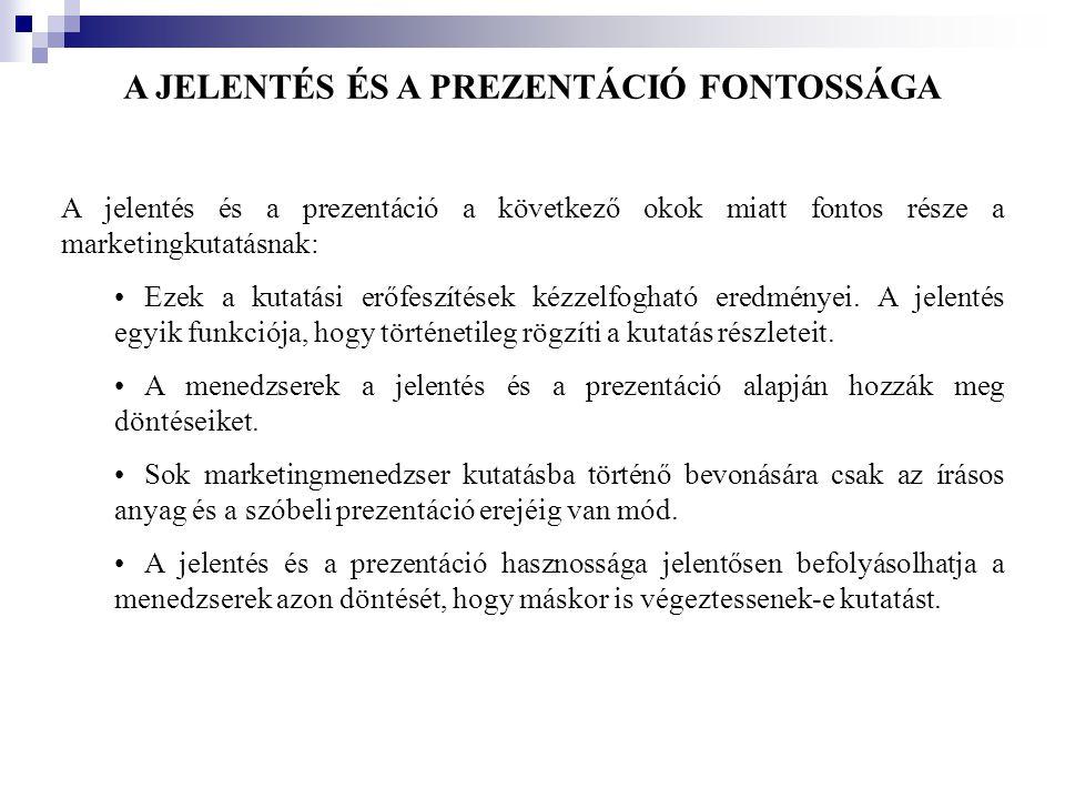 A JELENTÉS ÉS A PREZENTÁCIÓ FONTOSSÁGA