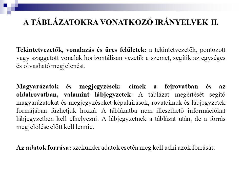 A TÁBLÁZATOKRA VONATKOZÓ IRÁNYELVEK II.