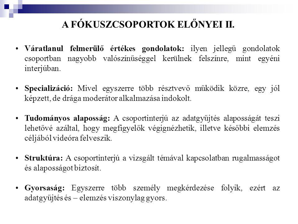 A FÓKUSZCSOPORTOK ELŐNYEI II.