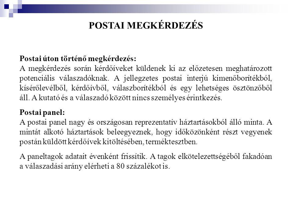 POSTAI MEGKÉRDEZÉS Postai úton történő megkérdezés: