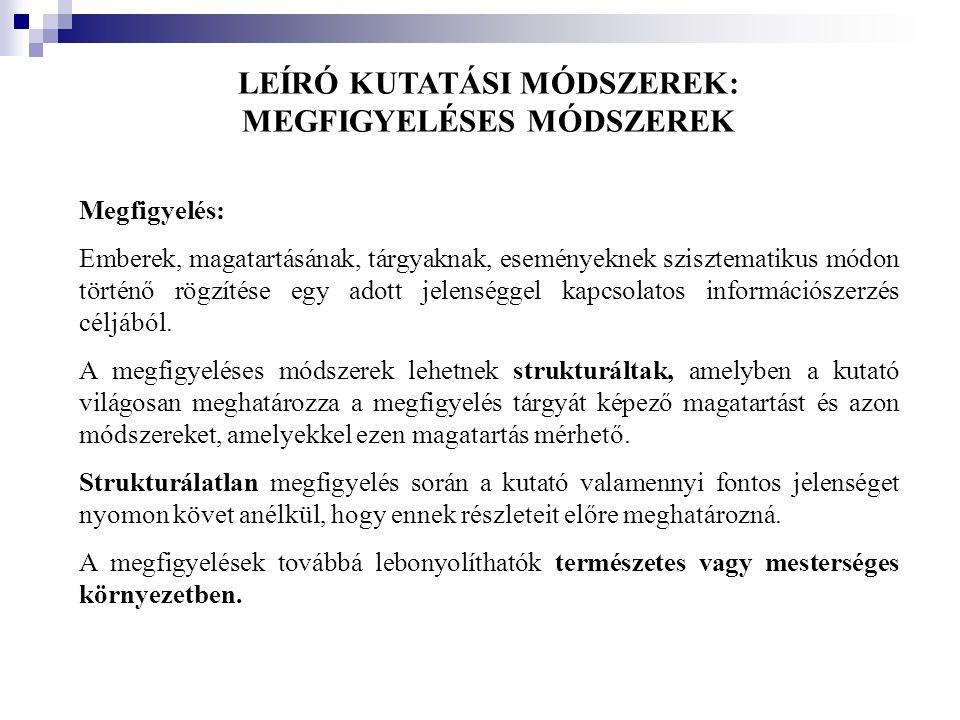 LEÍRÓ KUTATÁSI MÓDSZEREK: MEGFIGYELÉSES MÓDSZEREK