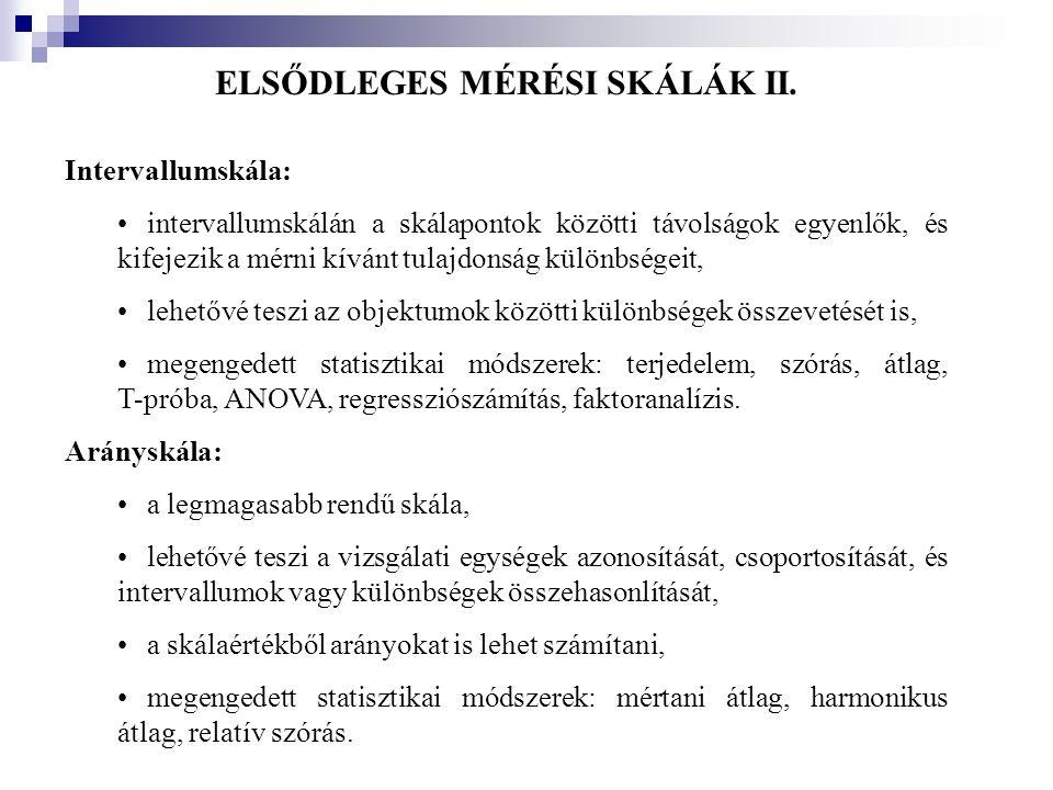 ELSŐDLEGES MÉRÉSI SKÁLÁK II.