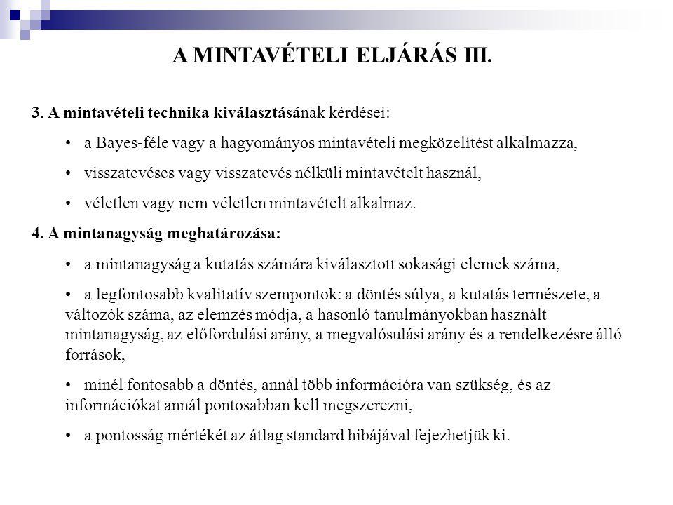 A MINTAVÉTELI ELJÁRÁS III.