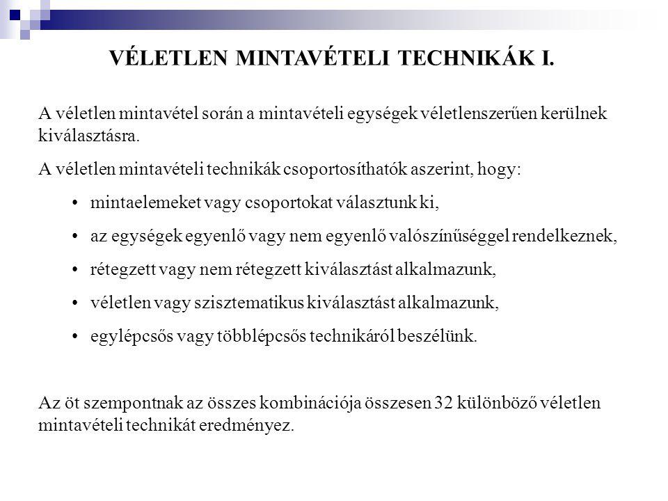 VÉLETLEN MINTAVÉTELI TECHNIKÁK I.